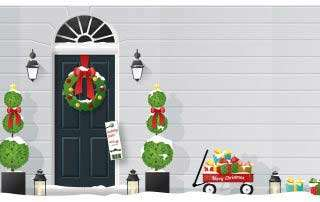 illustrated Christmas scene with a doorhanger