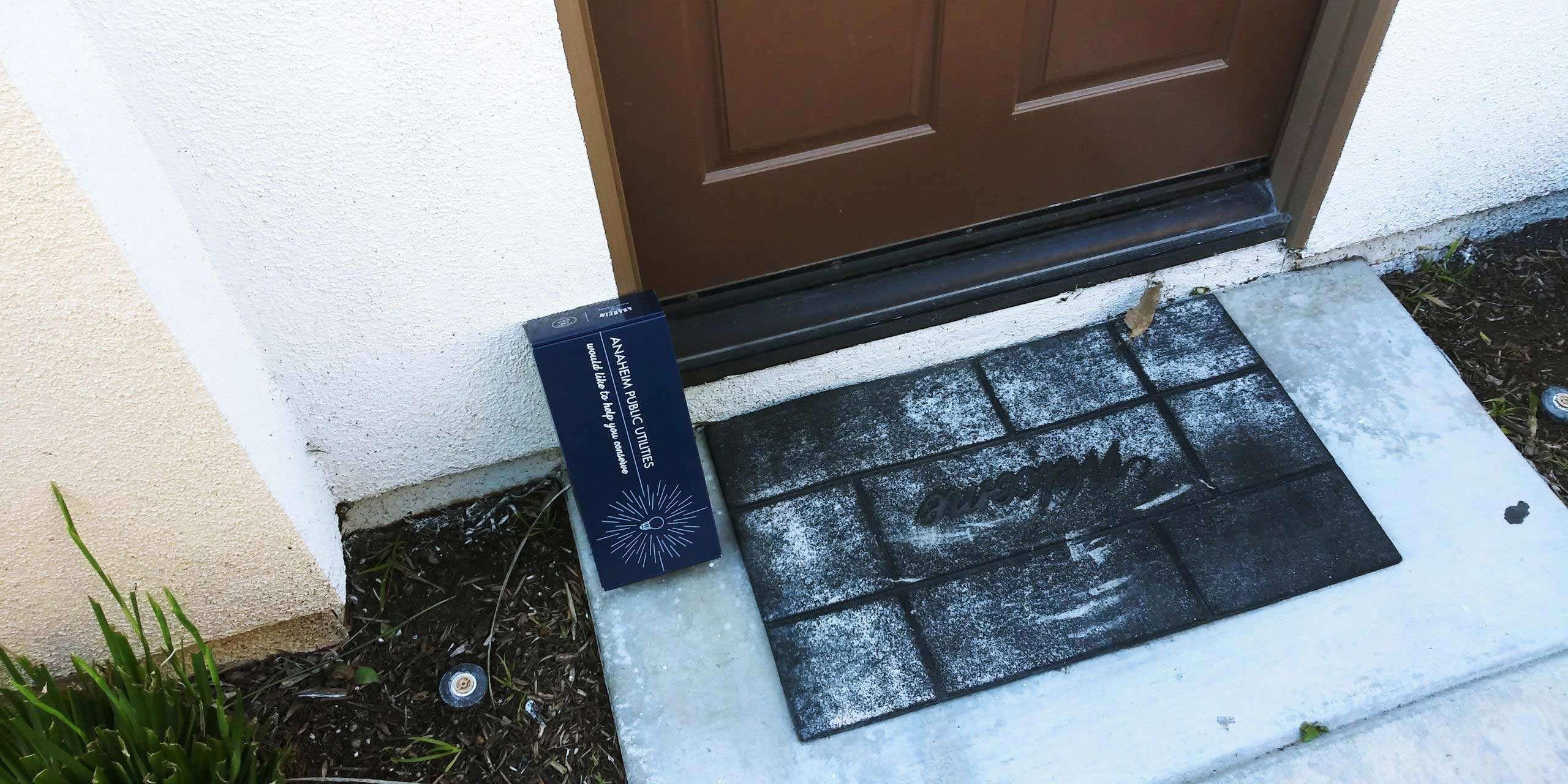 city of anaheim box on a doorstep