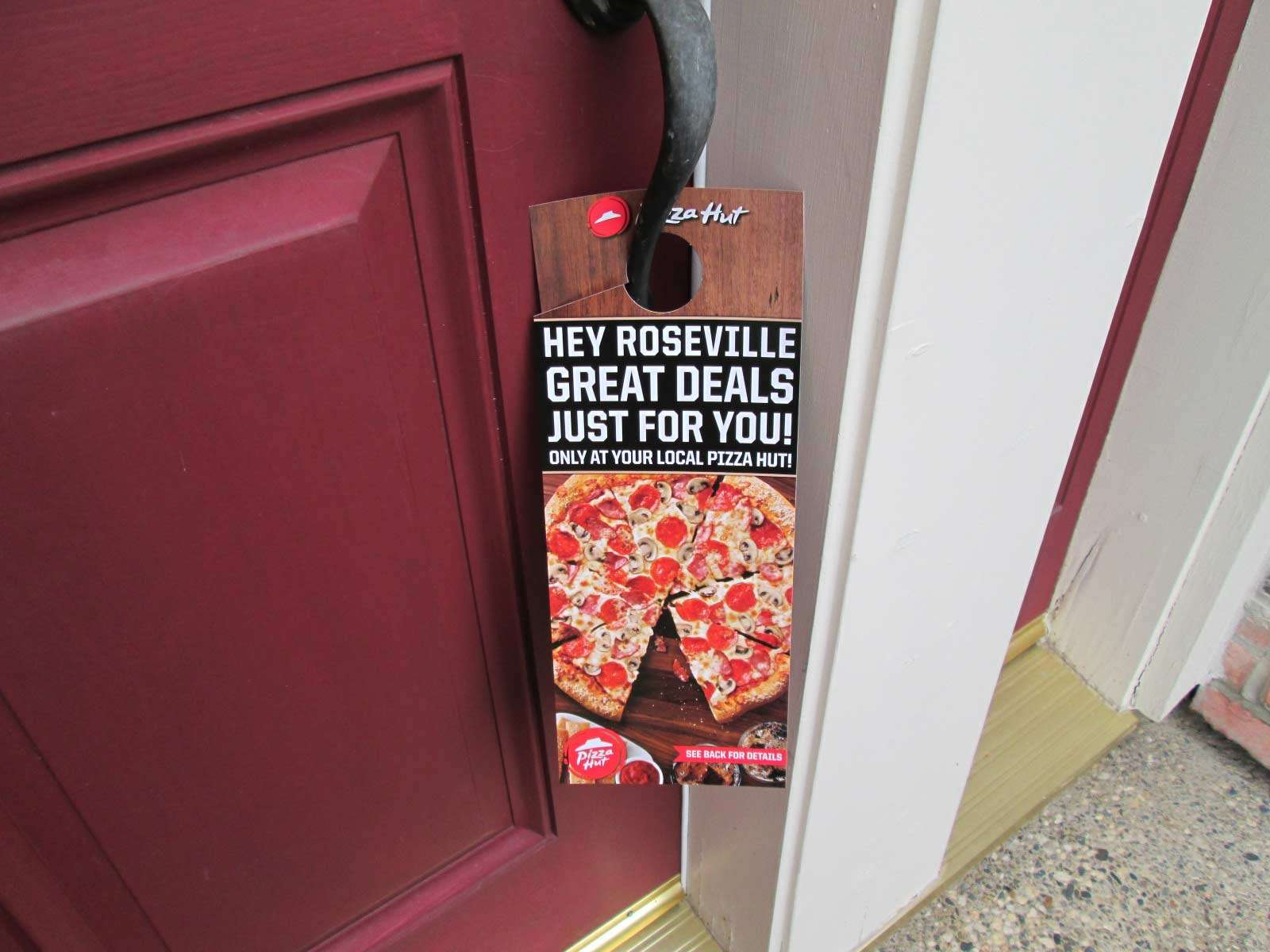 pizza hut door hanger, a great example of using audience targeting
