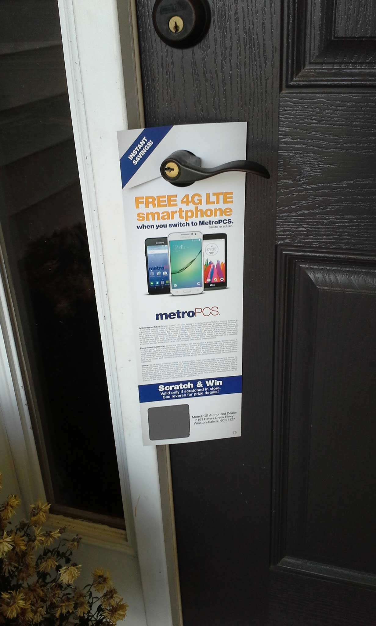 Metro PCS door hanger