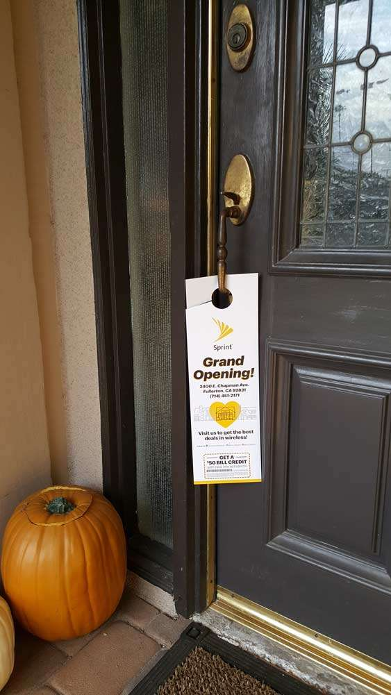 Sprint grand opening door hanger