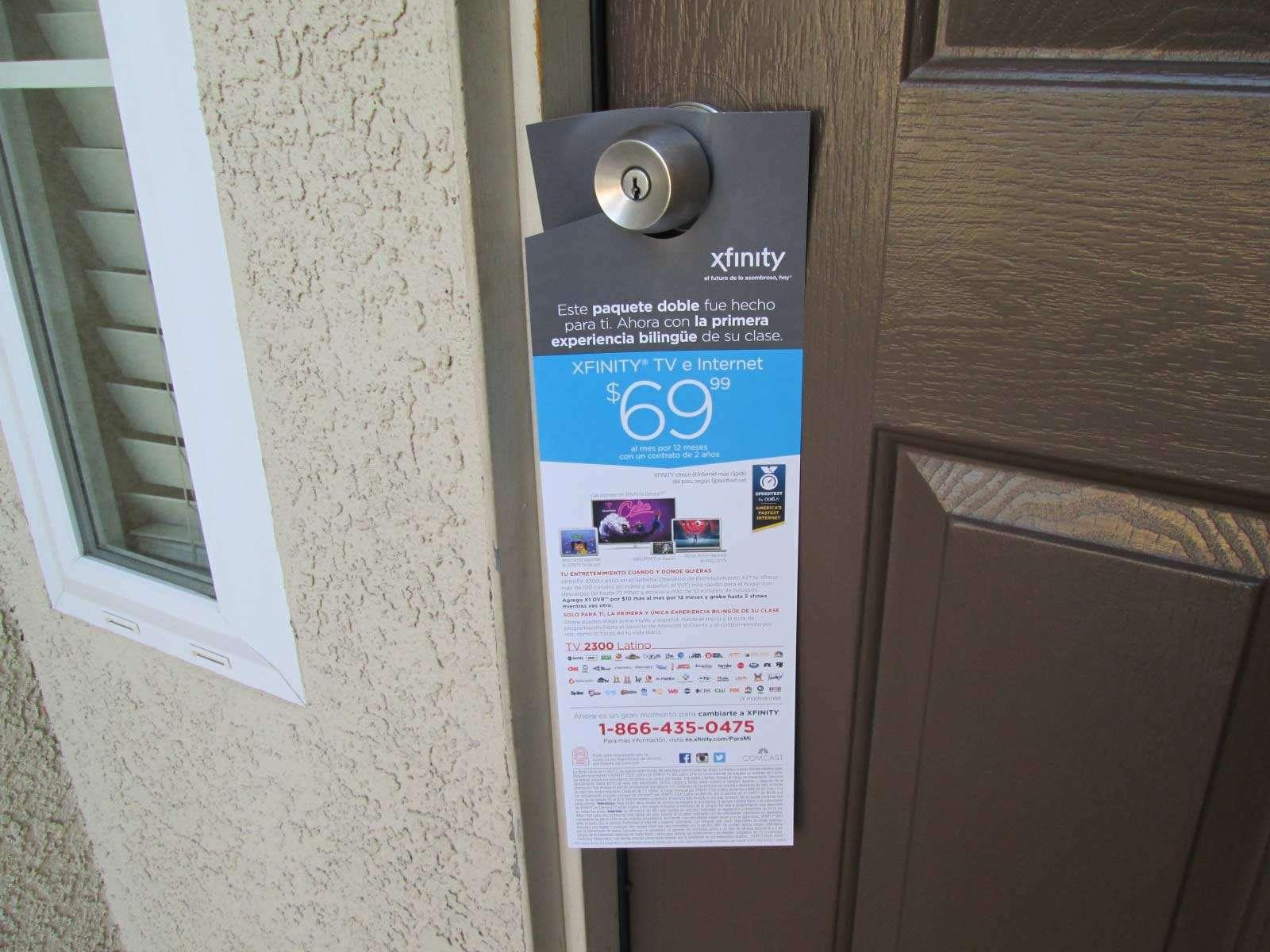 Xfinity door hanger in Spanish