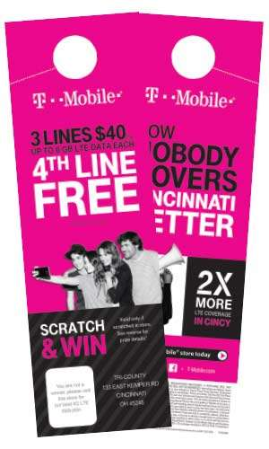 pink T Mobile door hanger - an example about Power Direct service offerings