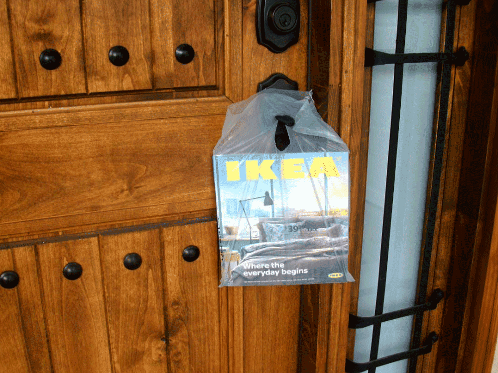 front door marketing media, an IKEA catalog