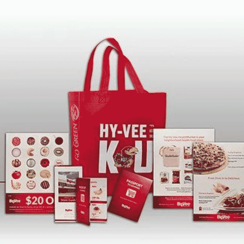 HY-VEE sample kit with various marketing materials