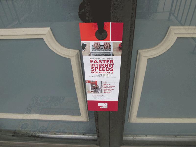red door hanger on a front door