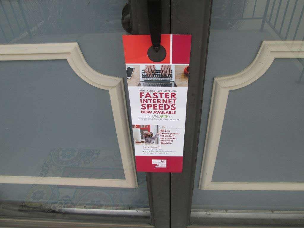 door hanger delivery for an Internet provider