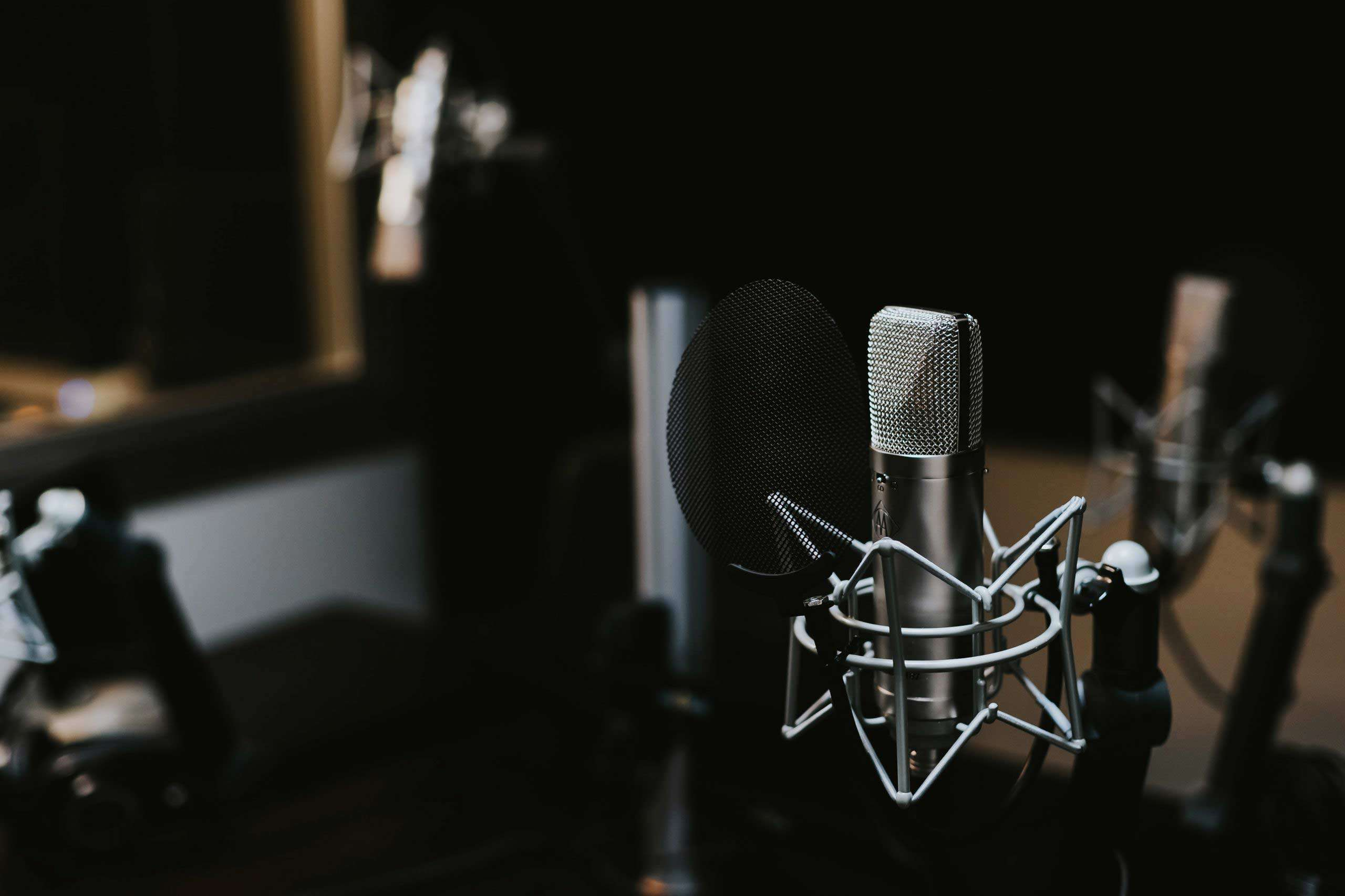 microphone at a radio advertising station